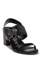 Calvin Klein Carlita Leather Block Heel Sandal