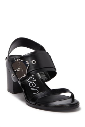 Calvin Klein Carlita Leather Block Heel Sandal