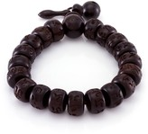 März The Flattened Character Bead Wooded Stretch Bracelet