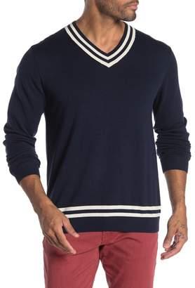 Tailor Vintage Striped Trim V-Neck Sweater