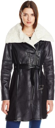 Vince Camuto Women's Belted Coat with Faux Shearling