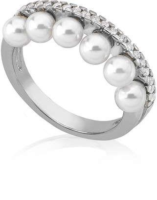 Majorica Simulated Pearl & Cubic Zirconia Band Ring