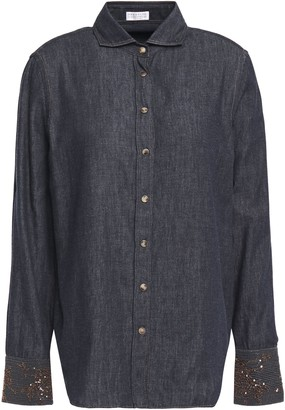 Brunello Cucinelli Sequin And Bead-embellished Cotton-chambray Shirt