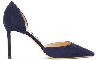 Jimmy Choo Esther 85 Suede D'orsay Pumps - Navy