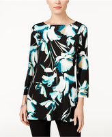 JM Collection Boat-Neck Floral-Print Top, Only at Macy's