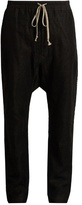 Rick Owens Mesh-overlay dropped-crotch linen trousers