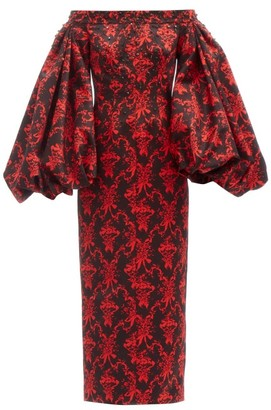 Emilia Wickstead Kent Balloon-sleeve Cherub-print Taffeta Gown - Black Red