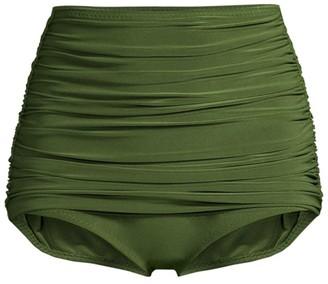 Norma Kamali Bill Hi-Rise Ruched Bikini Bottoms