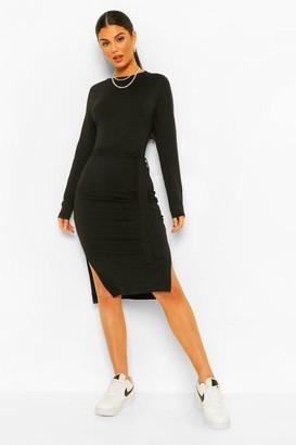boohoo Long Sleeve Belted Midi Dress