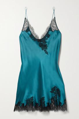 Carine Gilson Silk-satin And Chantilly Lace Chemise - Teal