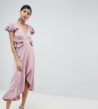 Asos Tall DESIGN Tall ruffle midi dress in rippled satin with cut out back-Pink
