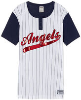 PINK Los Angeles Angels Bling Campus Henley Tee