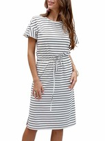 Kirundo KIRUNDO 2020 Womens Summer Striped Midi Dress Ruffle Short Sleeves Round Neck High Waist with Drawstring Belt (Large