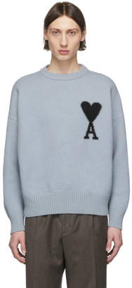 Ami Alexandre Mattiussi Blue Ami De Coeur Crewneck Sweater