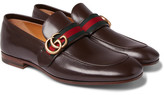 Gucci Webbing-Trimmed Leather Loafers
