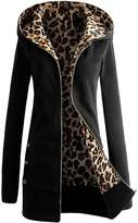Women Coat Changeshopping 1PC Plus Velvet Thickened Hooded Sweater Leopard Zipper (M, )