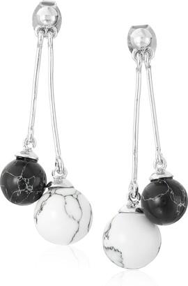 Noir Semi Precious Rhodium Sphere Drop Earrings