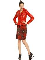 McQ by Alexander McQueen Pleated Tartan Print Zipped Jersey Skirt