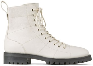 Jimmy Choo CRUZ FLAT Latte Grained Leather Lace-Up Boots