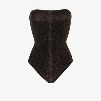 Hunza G Audrey strapless metallic swimsuit