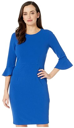 Donna Morgan 3/4 Sleeve Crepe Sheath Dress with Bell Sleeve (Cornflower) Women's Dress
