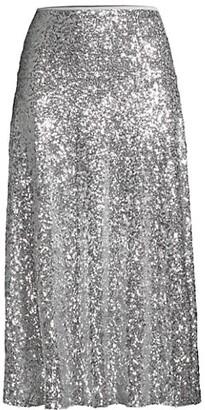 Norma Kamali Overlapping Sequin Midi Skirt