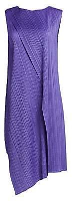 Pleats Please Issey Miyake Women's Drape Pleats Asymmetric Hem Dress