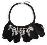 Topshop Feather & Crystal Necklace