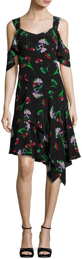 Nanette Lepore Sultry Sunset Floral Silk Cold-Shoulder Dress, Black/Multicolor
