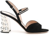 Miu Miu Crystal Suede Sandals
