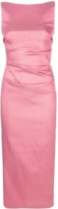Talbot Runhof lamé fitted midi dress