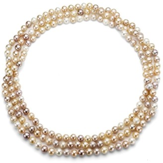 DaVonna Semi-round 6-7mm Multi Pink Freshwater Pearl Endless Necklace