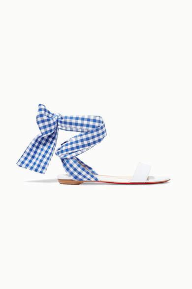 Christian Louboutin Sandale Du Desert Leather And Gingham Canvas Sandals - White
