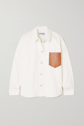 Loewe Perforated Leather-trimmed Denim Shirt - Ecru