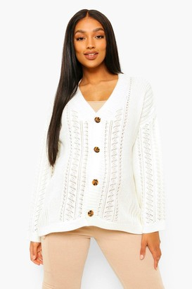 boohoo Maternity Crochet Knit Cardigan