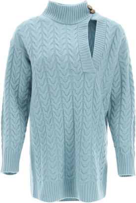 Max Mara MEDEA CABLE KNIT WOOL AND CASHMERE SWEATER M Green, Light blue Wool, Cashmere