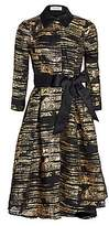 Teri Jon by Rickie Freeman Women's Metallic Jacquard Fit-&-Flare Dress