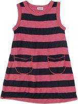 Navy Slub Shadow Stripe Dress