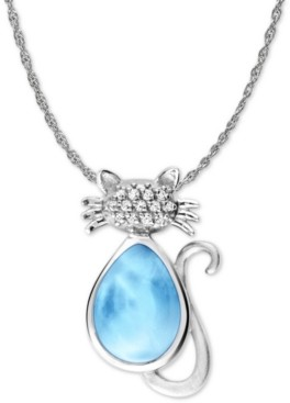 "Marahlago Larimar and White Sapphire Accent Cat 21"" Pendant Necklace in Sterling Silver"