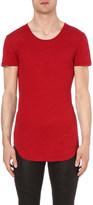 Balmain Longline ribbed cotton and wool-blend t-shirt