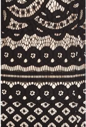 Quiz Lace Contrast Lining High Neck Cap Sleeve Midi Dress - Black