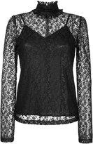G.V.G.V. foiled lace frilled high neck top - women - Cotton/Nylon - 34