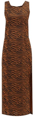 Lisa Marie Fernandez Charlotte Zebra-print Cotton Midi Dress - Womens - Brown Print