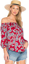 Splendid Etched Floral Blouse in Red. - size S (also in XS)