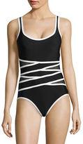 I.N.C International Concepts Lightening Bolt Illusion Swimsuit