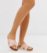 Asos Design DESIGN Wide Fit Flare cross strap sliders in pink croc