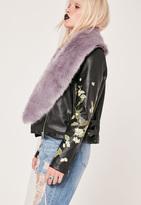 Missguided Faux Fur Stole Scarf Purple