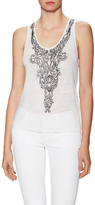 Alice + Olivia Indie Embellished Slim Scoopneck Tank Top