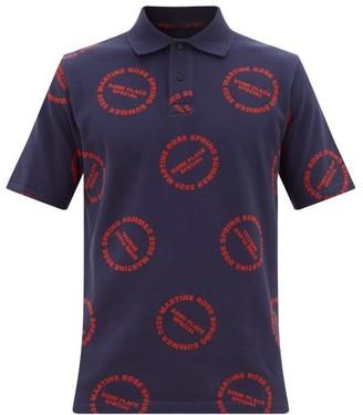 Martine Rose Printed Cotton-pique Polo Shirt - Navy Multi