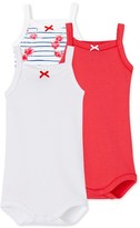Petit Bateau Pack of 3 baby girl bodysuits with straps